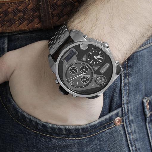 Мужские часы на широком кожаном браслете Рок навсегда